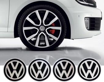 VW Volkswagen Wheel Center Caps Sticker Emblem Logo 4 x 55mm Diameter Round Sticker at Cheap Price