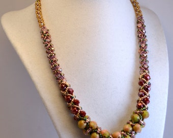 Red, Green, and Gold Fall Colours Beadwoven Necklace