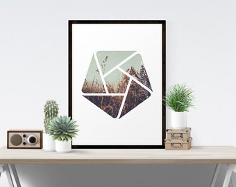 Country Geometric Art Pentagon Vortex Landscape Natural Sunny Field Hipster Fine Art Print