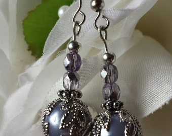Lilac Globe Earrings