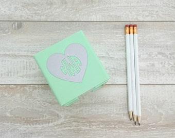 Heart Monogrammed Pen Cup