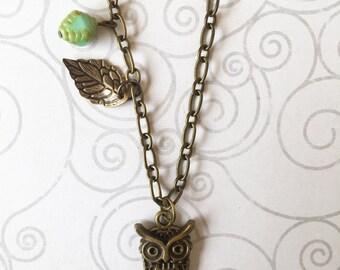owl necklace, owl charm, bronze owl, owl pendant