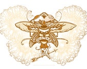 "Houndmouth Inspired Digital Print, 11x17 ""For No One"" Bumblebee Arrow Traditional Tattoo, Sepia"