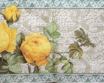 Yellow roses decoupage paper napkin Decoupage paper supplies Napkins for decoupage Yellow flower Grey pattern