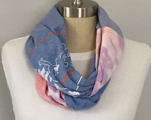 Vintage Upcycled Unique T shirt Infinity Scarf, Anti-Racism Infinity Scarves, Blue Cotton Scarves, Recycled Accessories, Pink n Blue Scarf