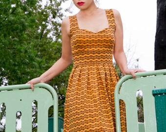 SALE! Womens Dress, Organic Cotton Dress, Summer Dress in Orange, Black and White and Purple with Zig Zag, Chevron print, Miss Mary Mack