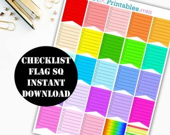 Checklist Flag Sq Printable Planner Stickers // Erin Condren Printable / Plum Paper Planner / Planner Insert Instant Digital Download 00016