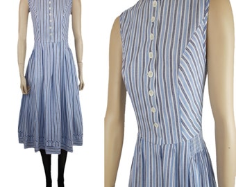 Vintage 70s Drei Zinnen Mid Length Dress with Button Front Fastening Blue & White Stripes UK 8
