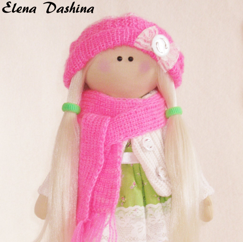 Doll Marianne Pink Green Rag Doll By DollsTalismans On Etsy