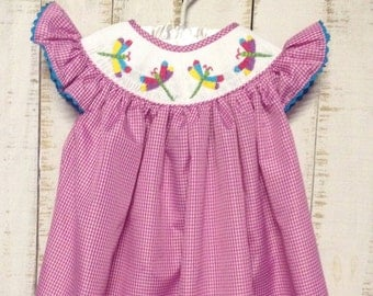 Smocked Dragonfly Bishop Dress, Smocked Girls Dresses, Smocked Girls Outfits