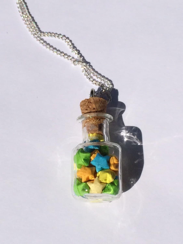 Custom Lucky Origami Star Jar Necklace - photo#22