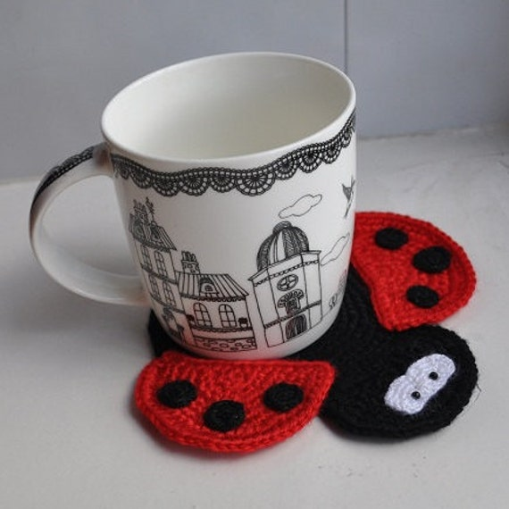 Https Www Etsy Com Listing 232048061 Crochet Ladybug Coaster Red And Black