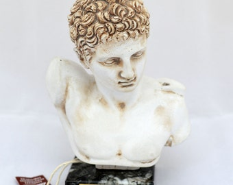 Hermes statue bust Ancient Greek God and conductor of souls sculpture