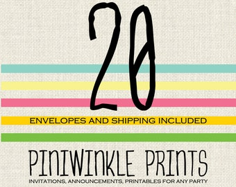 20 prints (professional printing of 5x7 invitations or announcements)