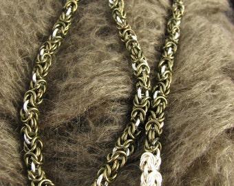 Gunmetal and Silver Byzantine Necklace