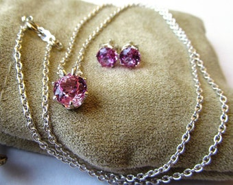 Necklace and Earring Sweetheart Set Lab Grown Pink Sapphires and Sterling Silver