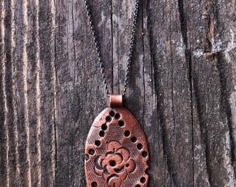 Copper Metal Clay Pendant - Western Rose - NC150