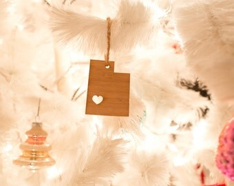 i heart Utah State Ornament - Bamboo - Utah Ornament - Wooden State Ornament UT State Pendant With Heart Holiday Rear View Mirror