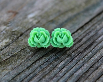 Ruffled Rosebud Stud Earrings - Green