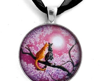 Grey Orange Tabby Cats Necklace Pink Cherry Blossoms Zen Moon Moonlight Romantic Love Sakura Flowers Boho Handmade Jewelry Gray Tabby Cat
