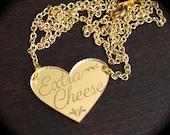 Extra Cheese Gold Heart Mirror Acrylic Necklace