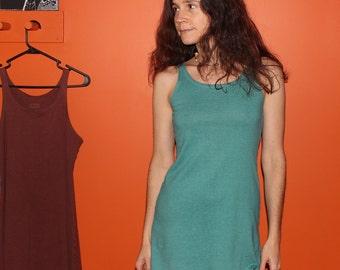 hemp clothing - tank / mini dress - 100% hemp and organic cotton - hand dyed in yucca - extra small