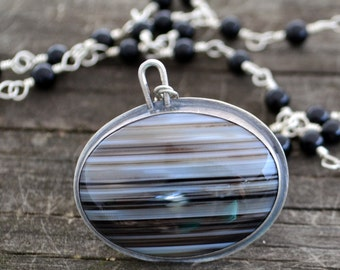 tuxedo reversible necklace - banded agate & onyx and sterling silver