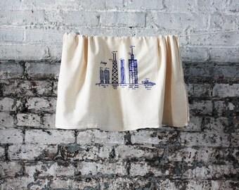 Chicago towel, kitchen towel, dish cloth, hand towel, dish towel, architecture, Chicago souvenir, unbleached cotton floursack tea towel