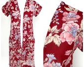 Vintage Burgundy Wine Top - Long Open Front Vest Shirt Salmon Pink and Tan Flowers Floral Print - Semi-Sheer Cover-Up No Closures Side Slits
