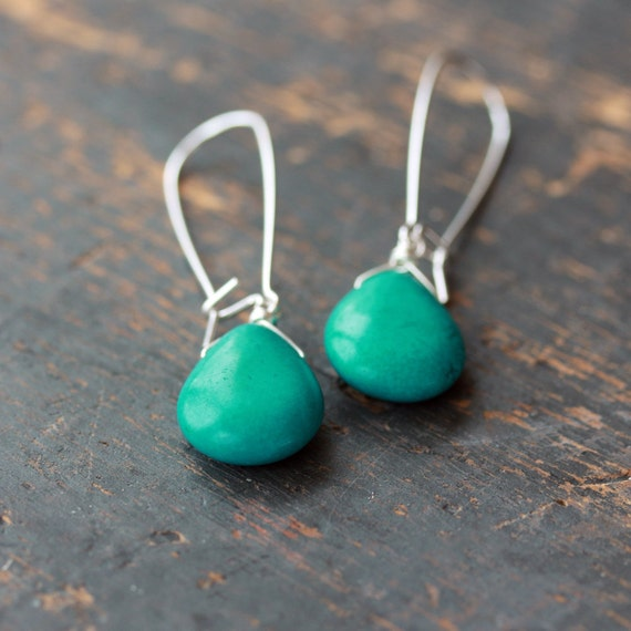 Turquoise Drop Earrings, Turquoise Howlite, Turquoise Earrings, Sterling Silver, Southwestern Style, Gemstone Dangle, Handmade Jewelry