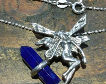 "Sterling Silver Fairy with Lapis Lazuli Crystal Point, on 16"" Diamond Ball Chain"