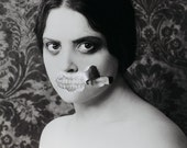 Toothy - Original Mixed Media FREE SHIPPING Surreal Photo Print Creepy Portrait Dark Art Black & White Fine Art Image Teeth Torn Distorted