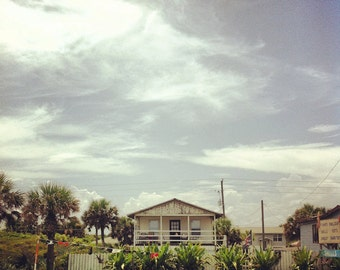 Florida Beach House FREE SHIPPING Bright Sunny Day Flagler Beach Cottage Square Print Southern Landscape South Old Clouds Blue White Yellow