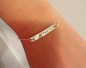 Name Plate Bar Bracelet Custom Name Bracelet Monogram Sterling Silver Bracelet - Bridesmaids Bridal Party Wedding Gift Under 25
