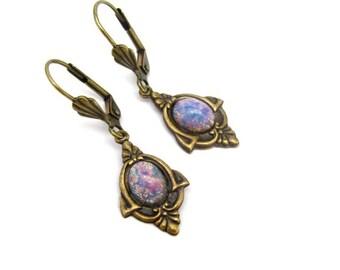 Art Deco Earrings Faux Opal Earrings, Art Glass Jewelry, Multi Color, Wedding Earrings, Art Deco Earrings, Wedding Jewelry Hawaii Beads
