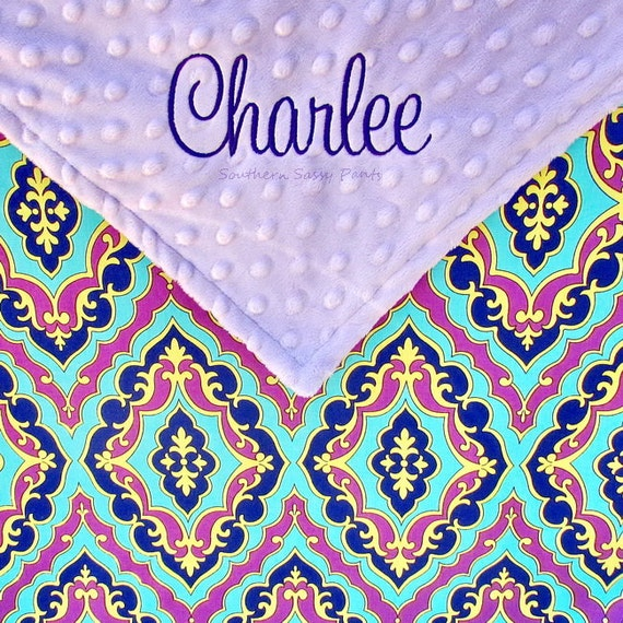 Personalized Baby Girl Blanket , Lavender Minky Dot and Jeweltone Cotton Blanket