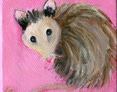 Possum mini painting, Opossum on pink canvas, easel,  possum artwork, Original small acrylic painting canvas art