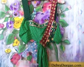Green Silk Dance Top, Disco, Beaded, Polka Dot, Vintage Fabrics, Stripe, Bra Top, Crop Top, Boho, Belly Dance, Carnival, Festival