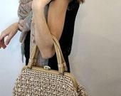 Vintage Beaded Straw Bag Purse Top Handle Women Accessories Bags and Purses 1950s Retro Handbag Cream Taupe Mad Men
