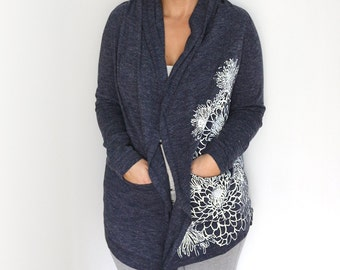 Small- Heather Navy Cardigan with Crysanthemums Screen Print