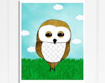 Baby Boy Owl Nursery Decor Blue And Green Wall Art For Children's Room Whimsical Woodland Animals Print Owl Pictures For Kids Forest Friends
