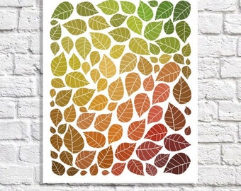 Leaves Print Autumn Art Seasonal Decor Fall Decorations Leaf Illustration Falling Leaves Pictures Leave Pattern Poster Wall Art Home Decor