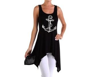 Women's Anchor Tunic womens Anchors Shirt tunics screen printed Asymmetrical Blouse Natuical Clothing sailor black sleeveless tank tops