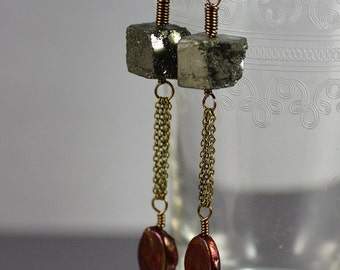 Earrings Featuring Rough Pyrite Fool's Gold Cubes Burgundy Oval Freshwater Pearls and Antiqued Brass Chain