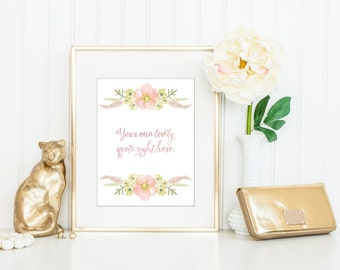 Personalized Floral Print / Custom Quote Print / Personalized Quote / Calligraphy Quote / Floral Print / 8x10 / 5x7 / Custom Poster Emerson