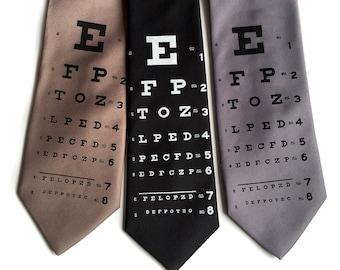 Eye Chart Tie. Snellen Eye Chart Necktie. Opthalmologist print men's tie. Eye doctor, optometrist, optician, glasses wearer gift.