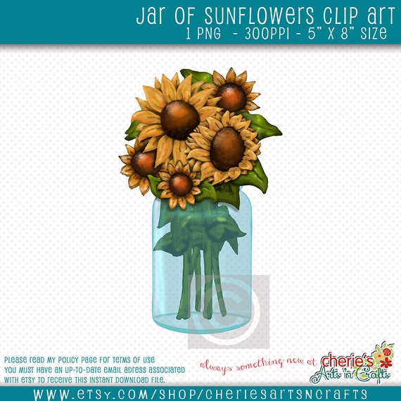 Sunflowers in a Canning Jar, Canning Jar Clip Art, Floral Clip Art ...