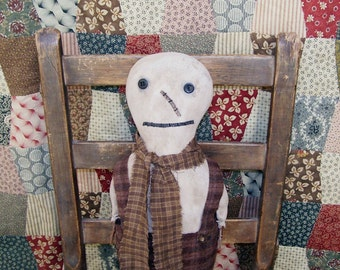 Primitive Snowman, Early Style Snowman Doll, Snowman with Plaid Wool Pants, Made in California