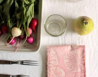 pale pink lilypads batik tea towel