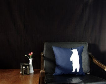 READY TO SHIP Navy with White Bear Silhouette Decorative Pillow on Sale